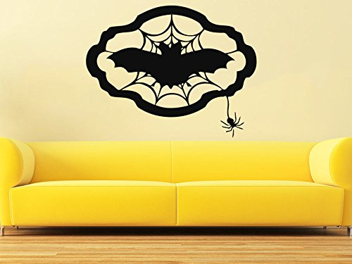 43SabrinaGill Wall Decal Happy Halloween Vinyl Sticker Decals The Bats Spider Cobweb Holiday Witch Home Decor 22