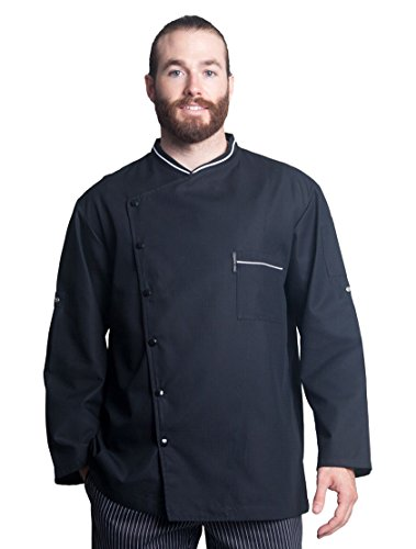 Bragard Men's Long Sleeve Chicago Chef Jacket with Honeycomb Weave and Piping - Black | Sizes 54 US| by Bragard