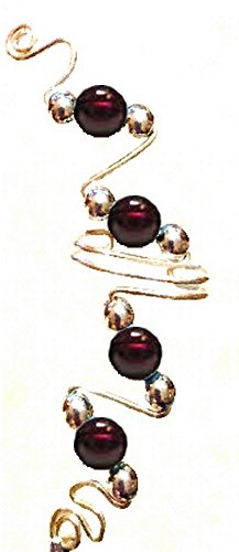 d Ear Ivy Full Cuff Semi Precious Stone Beads Sterling Silver Wire ~ Single Cuff (Sterling silver with garnet beads-left ear) ()