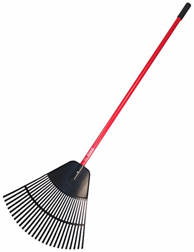Bully Tools 92624 Poly Lawn and Leaf Rake with Fiberglass Handle, 24-Inch