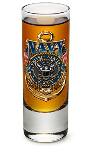 2 Ounces Shooter Shot Glass Navy the sea is ours