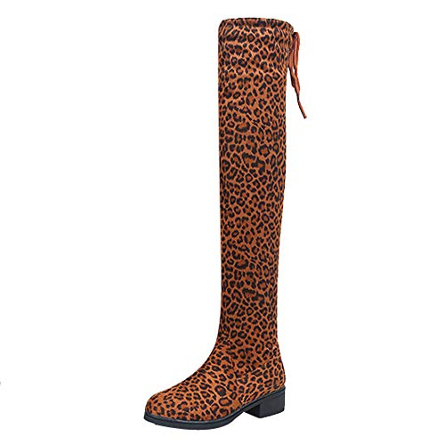The Knee Boots Women Round Head Suede Thick With Leopard for sale  Delivered anywhere in USA