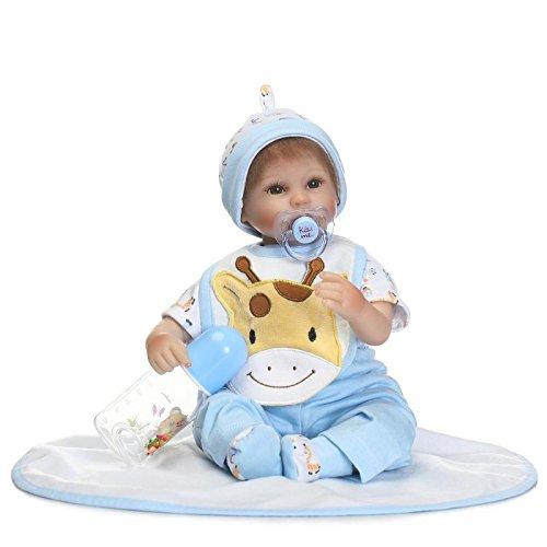 NPK collection Silicone Reborn Baby Doll 18 inch 45 cm Handmade Vinyl Silicone Cloth Body Lifelike Newborn Boy Doll with Cartoon Animal Clothes