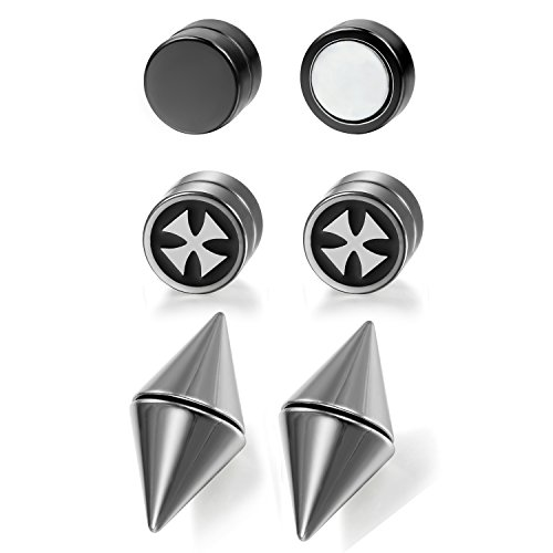 Aroncent 6Pcs Magnetic Ear Stud Mens Womens Spike Earring Non-Piercing Jewelry Stainless - Spike Earrings Magnetic