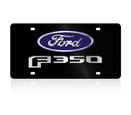 Lazer-Tag Acrylic License Plate- 2015 F-350 L/W Black Acrylic Plate, Blue w Mirror Oval, Mirror Word, Black F