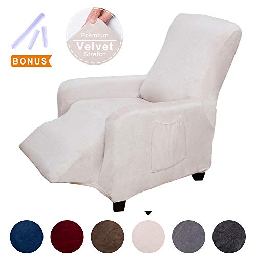 ACOMOPACK Premium Velvet Recliner Cover, Velvet Stretch Recliner Chair Cover Couch SlipCovers for Furniture Living Room Recliner, Cover Protector with Plastic Tuckers and Side Pocket (Beige)