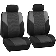 FH GROUP FB064102 Cross Weave Fabric Pair Set Seat Covers, Airbag Compatible, Gray / Black- Fit Most Car, Truck, Suv, or Van
