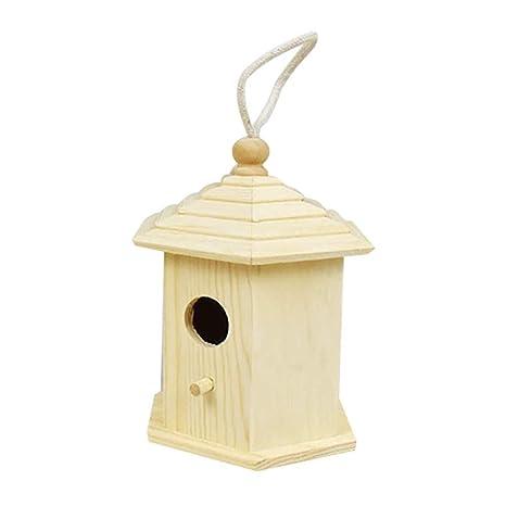 navigatee Jaula De Pájaros De Madera, Casa De Loros Colgantes Caja ...