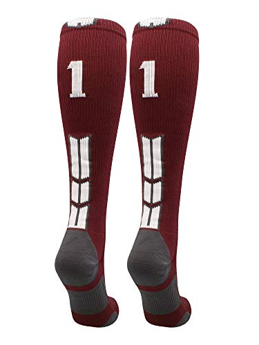Player Id Number Socks Over The Calf Maroon White (#11, Medium)