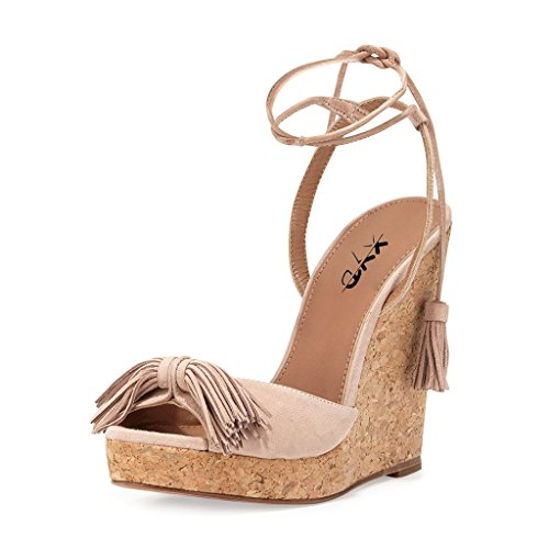 XYD Awesome Summer Sandals Peep Toe Slingback Ankle Strap High Heels Wedges for Women Size 13 Nude