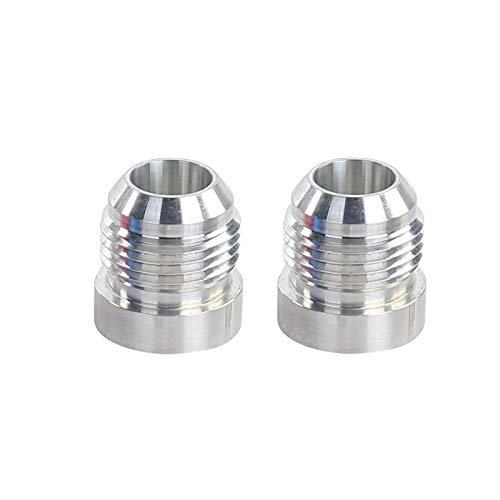 - 12AN Weld On Bung Aluminum Male Flare Weldable Fuel Tank Fitting AN12 JIC-12 AN (1-1/6-12) Thread Hose Adapter Connector, Pack of 2