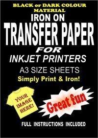 Inyecci/ón De Tinta Para Imprimir Hierro En La Camiseta /& Tela Papel Transfer Para Telas Oscuras 10 A3 L/áminas