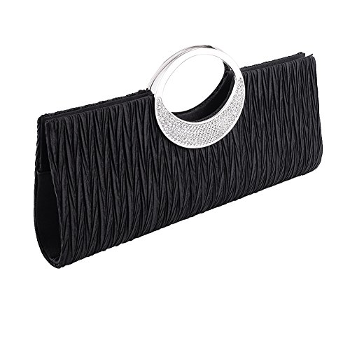 Clorislove Ladies Satin Rhinestone Pleated Evening Party Wedding Clutch Bag Handbag