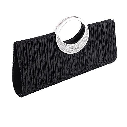 Jubileens Women's Shoulder Clutch Bag Rhinestone Evening Party Purse(Black) by Jubileens