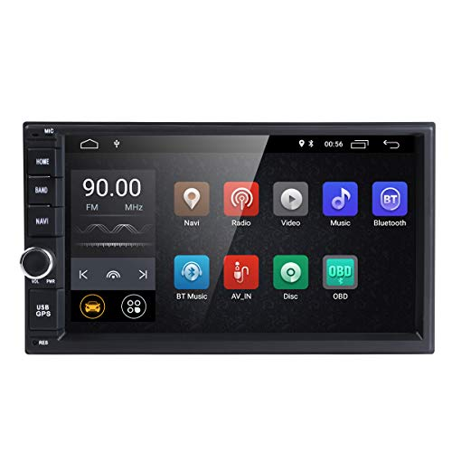 hizpo Android 9.0 Double Din DVD Player Head Unit 2GB RAM 16GB ROM 7 inch 2 DIN Touch Screen Support GPS WiFi DAB+ Android/iPhone Mirrolink Steering Wheel Control (Best Double Din Head Unit For Android)