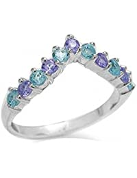 Genuine Swiss Blue Topaz & Tanzanite 925 Sterling Silver V-Shape Stack/Stackable Ring