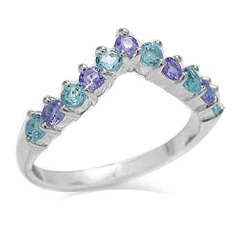Silvershake Genuine Swiss Blue Topaz and Tanzanite 925 Sterling Silver V Shape Stack Stackable Ring