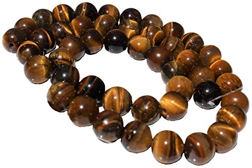 Brown Tiger Eye 8mm Natural, Energy Gemstone | Healing Power for Jewelry Making | Loose Beads | 1strand 15.5 inch (46-50 Beads) | Well Polished Round | Oxxysaon
