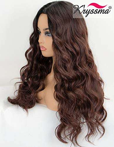 Kryssma Dark Brown Wig Ombre Synthetic Wig with Dark Roots Long Wavy Brown Ombre Wigs for Women Full Machine Made Wig 22 inches