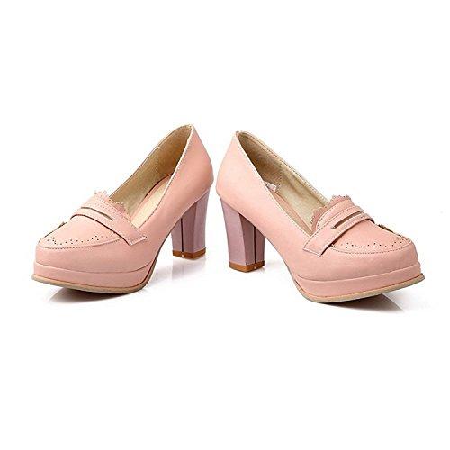 Korkokengät Pumput Suljetun Pinkki Solid Pumput Naisten kengät Pu Kierroksella Toe Vedä Velardeeee n4YRwqOx