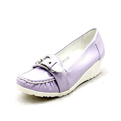 Lila / baja de cuña zapatos de tacón de cuña patente Blancas Lilac