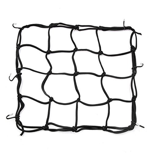uxcell 6 Hooks Hold Bungee Cord Black Motorcycle Cargo Net Mesh 30 x 30cm by uxcell