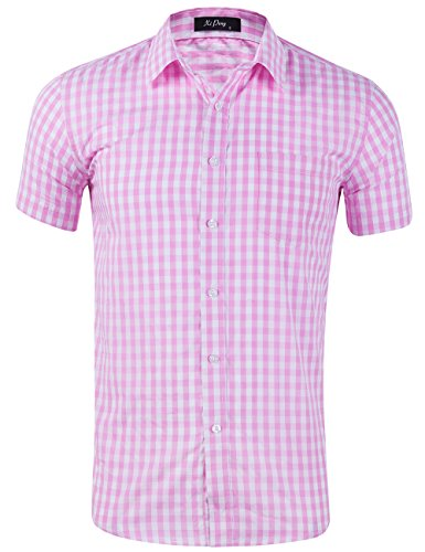 XI PENG Men's Casual Cotton Plaid Checkered Gingham Short Sleeve Dress Shirts (Pink White Plaid, XX-Large) (Pink Plaid Western Shirt)