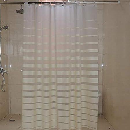 BJYG Cortinas de Ducha de plástico PEVA Mampara de baño de Rayas Blancas para baño de