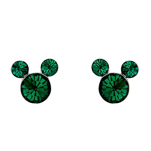 Plated Cross Emerald Silver - Disney Mickey Mouse Birthstone Silver Plated Stud Earrings, May Emerald Green Crystal