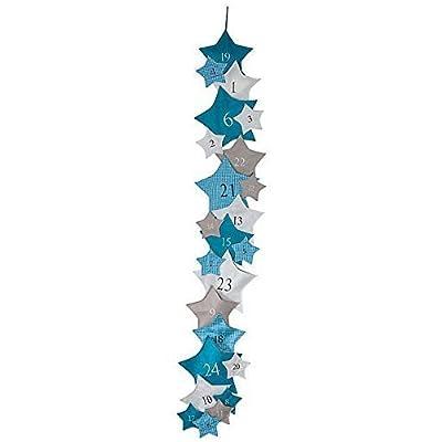 Calendrier de l'Avent étoiles bleu taille XXL avec 24petites et grandes Lutin poches à remplir remplir Hauteur 2m