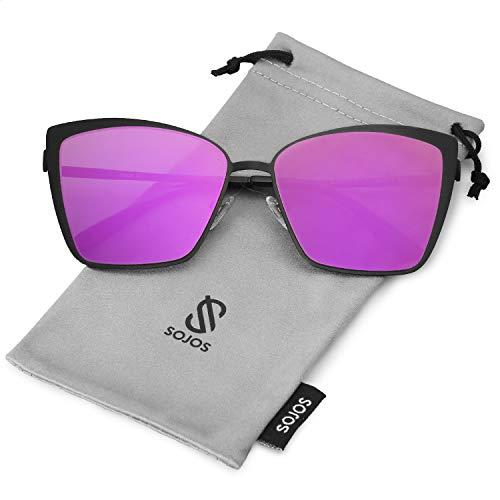 SOJOS Cateye Sunglasses for Women Fashion Mirrored Lens Metal Frame SJ1086 with Matte Black Frame/Purple Mirrored -