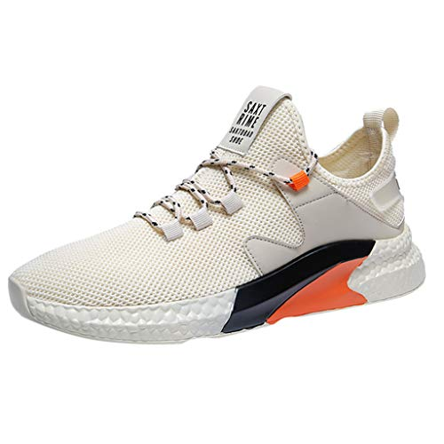 iHPH7 Sneakers Running Shoes Trail Fashion Lightweight Tennis Sport Casual Walking Athletic Mesh Low-Top Student Shoes Breathable Running Men (43,Beige)