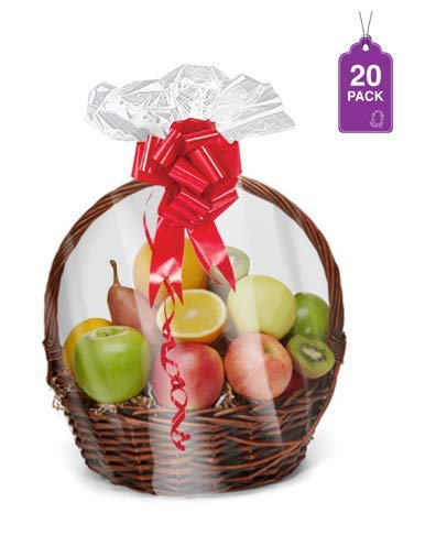 """Shrink Wrap Basket Bags for Gift Baskets 20 Pack Clear Cellophane PVC Shrink Bags 24""""x 30"""""""