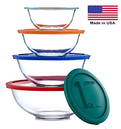 Pyrex Smart Essentials Mixing Bowl Set Including Locking Lids (Clear), 8 piece Microwave Safe Mixing Bowls