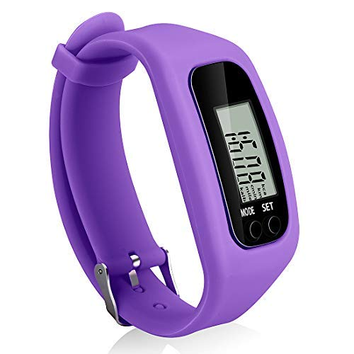 Bomxy Fitness Tracker Watch, Simply Operation Walking Running Pedometer with Calorie Burning and Steps Counting (Purple)