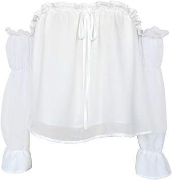 Mujer Blusas Camisa de Gasa Camisa de Playa con Volantes Mangas Abullonadas y Top Casual Tops Blanco XL: Amazon.es: Ropa y accesorios