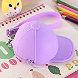 Mini Silicone Hat Coin Purses Key Zipper Wallets Pocket Money Bags Pouch Storage (Color - Purple)