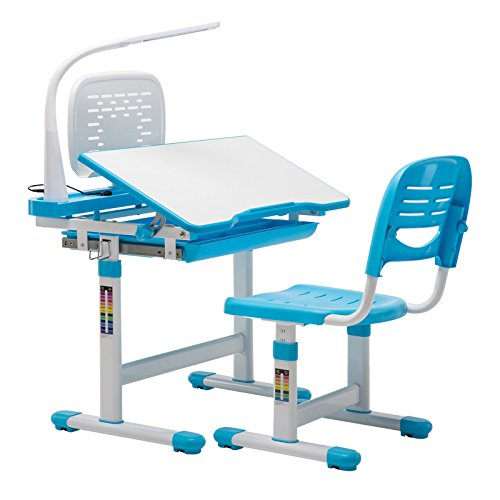 Chair Set Desk (Mecor Children's Desk Chair Set Height Adjustable Kids Student School Study Table Work Station Lamp/Storage,Blue)
