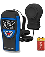 Digital Light Meters AP-8801C Lumen Meter with Range 0.1~400,000Lux Par Light Meter Luxmeter, Light Meter with Extendable Light Detector up to 2m,Data Hold,Lux/FC Selection (Battery Included)