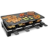 TechwoodElectricRaclette GrillwithReversibleTop Plate-Raclette Party Grill for 8 Person- Electric Grill with Non-Stick Grilling