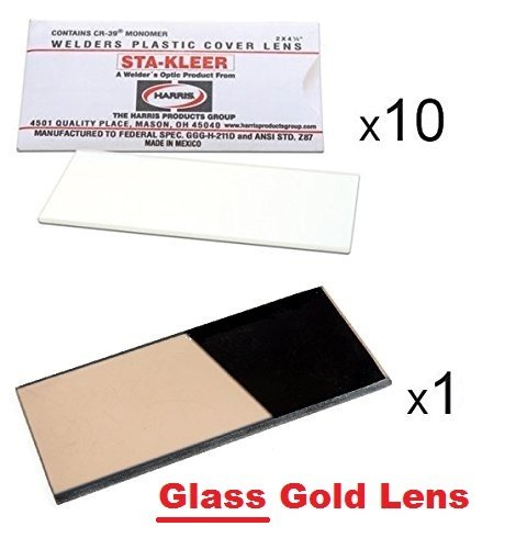 Gold Welding Lens - 10 Clear Hood Lens Cover 2