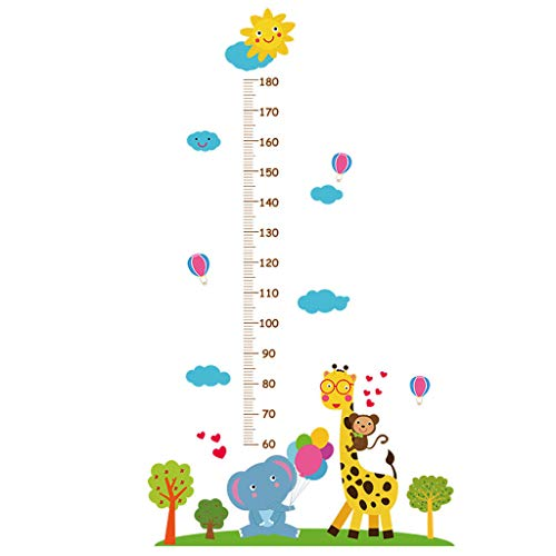 SANGNI Kids Growth Chart,Cute Children's Reusable Height Chart,Wall Sticker Home Decor,Easy to Install Personalized Toddler Development Chart,Removable Wall Hanging Measurement Ruler (Blue)