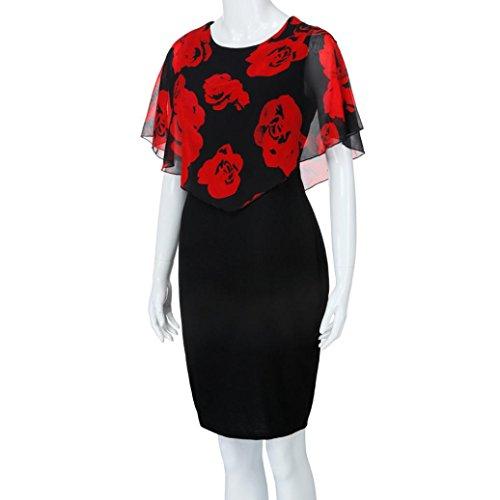 Taille La Rouge Ruffles Casual Mode T De Papillon Automne Mini Nouveau Femmes Rose Taille Cou Mousseline Imprimer VJGOAL Manches Droite Plus 36~58 Soie O Robe pxAq80w44