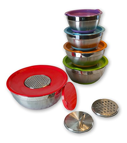 Aluminum Mixing Bowl (Loony Spoon Stainless Steel Mixing Bowls (Set of 5) - Colorful Non-Slip Bases with Matching Lids with bonus 3 Grater Attachments - Large Bowl Size 1.5, 2.0. 3.0, 4.0 and 5.0 QT - Capacity + Quality)