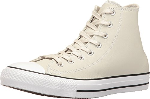 Converse Lined Sneakers - Converse Mens Unisex Chuck Taylor All Star Leather Hi Top Fashion Sneaker Shoe, Buff/Shadow, 9.5