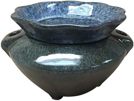 3.5 Granite Style Grey Brown Ruffle Shaped Self Watering Ceramic Planter