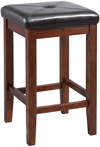 (Crosley Furniture CF500524-MA Upholstered Square Seat Bar Stool (Set of 2), 24-inch, Vintage Mahogany)
