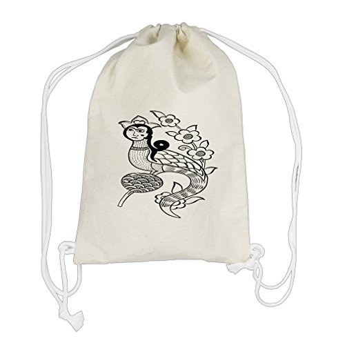 Color Your Mermaid Flowers Color-In Draw Canvas Cotton Drawstring Bag Backpack by Style in Print