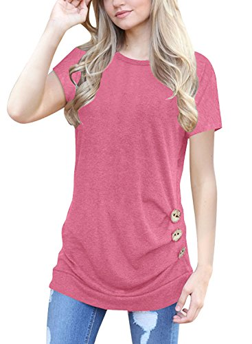 Lifenee1 Women's Casual Short Sleeve Round Neck Loose Tunic T Shirt Oversize Blouse Tops Pink XXL