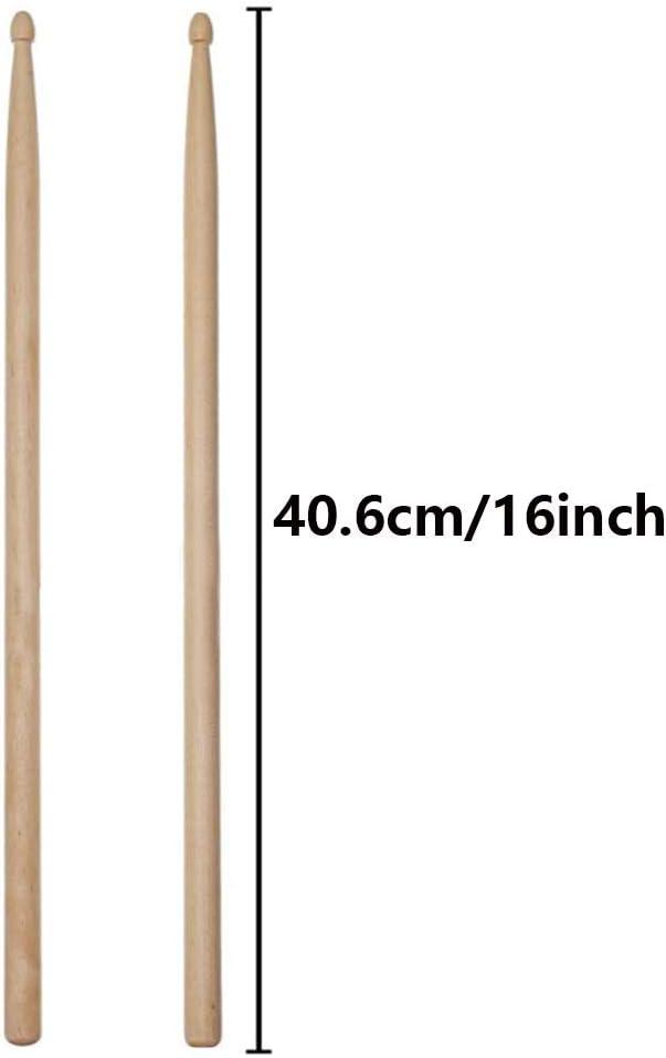 Baquetas de arce baquetas de forma 5A baquetas puntiagudas baquetas profesionales para adultos ni/ños practican baquetas de madera adecuados para principiantes y rendimiento escolar 4 pares